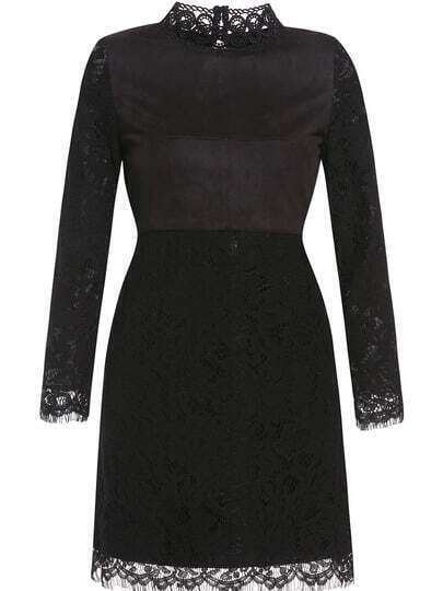 Black Collar Long Sleeve Lace Dress