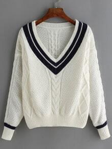 Jersey cuello V rayas -blanco