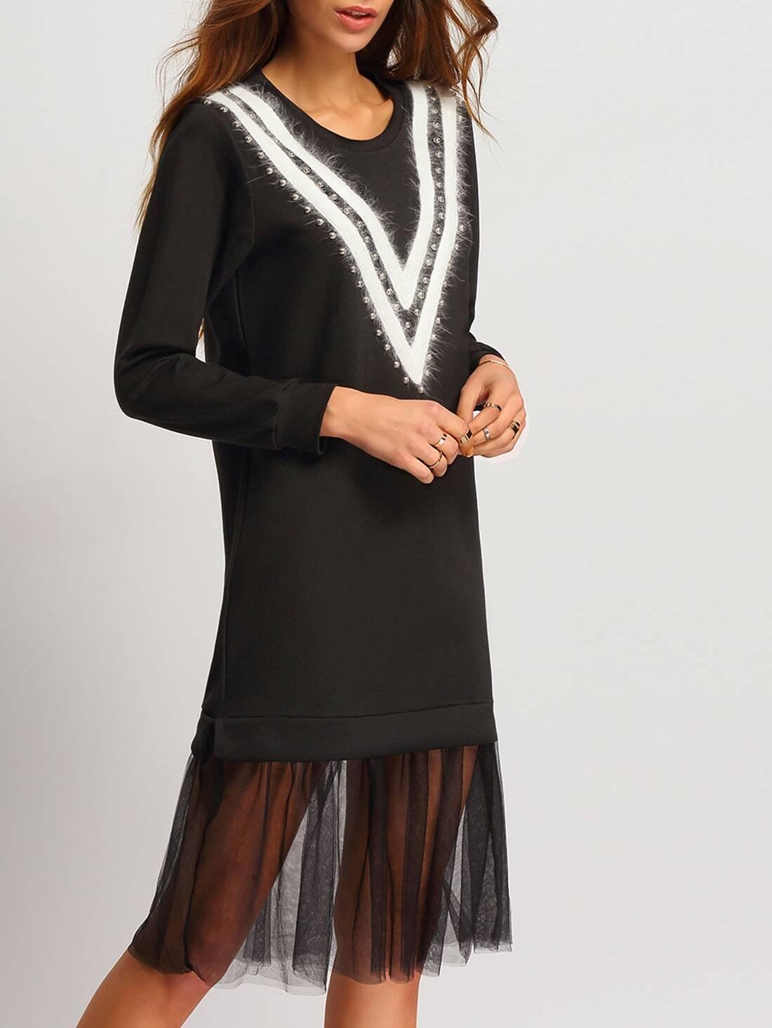 Sweatshirt kleid mit nieten besetzt schwarz german for Sweatshirt kleid lang