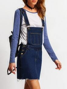 Blue Straps Denim Frayed Pinafore Dress