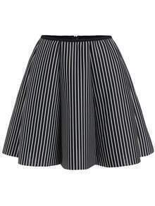 Black Vertical Striped Flare Skirt