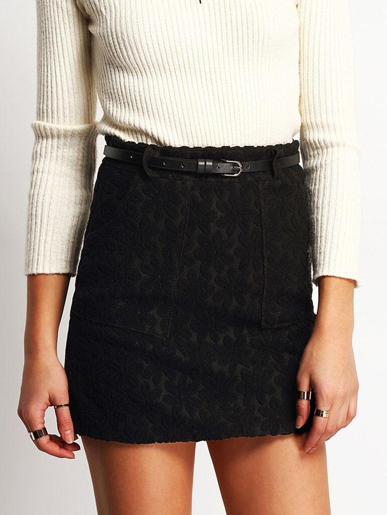 black belt a line skirt with pockets shein sheinside