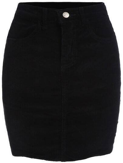 Black Bodycon Corduroy Skirt