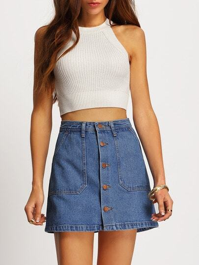 Single Breasted Denim A-Line Skirt -SheIn(Sheinside)