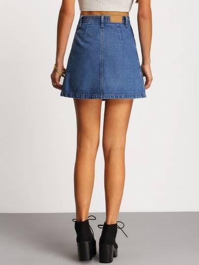 Single Breasted Denim A-Line Skirt -SheIn(Sheinside)