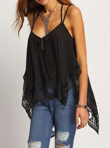 Lace Insert Asymmetrical Cami Top