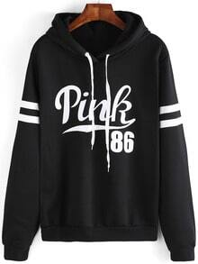 Black Drawstring Hooded Letters Print Sweatshirt