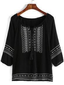 Black Embroidered Lace Up Blouse