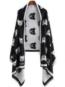 Black Bear Print Frayed Scarf