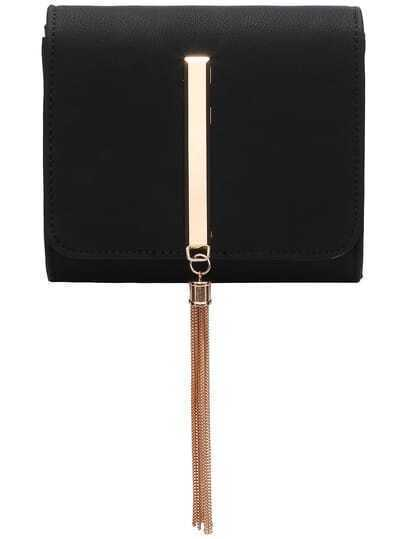 Black Metal Tassel Magnetic Chain Bag