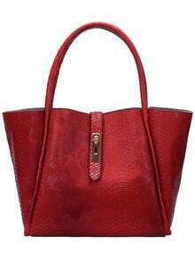 Red Serpentine Two Piece Tote Bag
