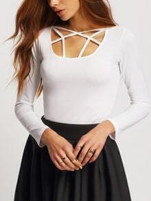 White Long Sleeve Hollow Slim T-Shirt