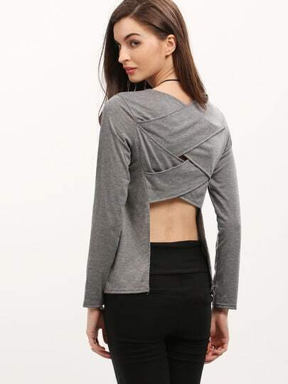 Grey Long Sleeve Cross Back Asymmetrical T-Shirt