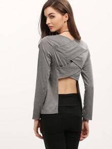 Grey Long Sleeve Cross Back Asymmetrical T-Shirt