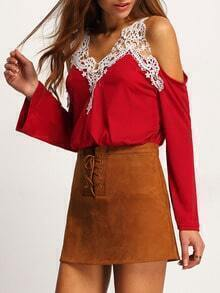 Red Cold Shoulder Lace Loose T-Shirt