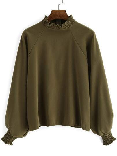 Army Green Frill Neck Loose Crop Blouse