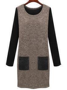 Coffee Round Neck Contrast PU Leather Pockets Dress