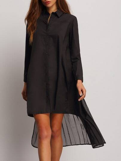 Black Lapel Ruched High Low Shirt Dress pictures