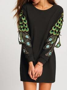 Black Round Neck Peacock Tail Embellished Dress