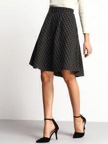 Black High Waist Plaid Skirt