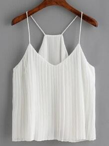White Spaghetti Strap Ruched Cami Top
