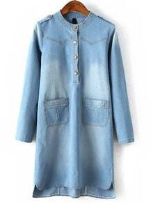 Blue Stand Collar Epaulet Bleached Denim Dress