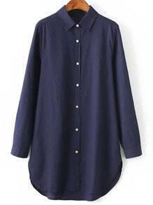 Navy Lapel Long Sleeve Buttons Loose Blouse