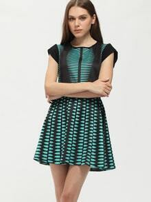 Green Color Block Cap Sleeve A Line Dress