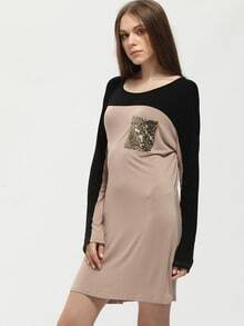 Brown Color Block Sequined Pockets Dress