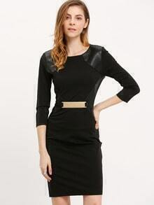 Black PU Leather Back Slit Sheath Dress