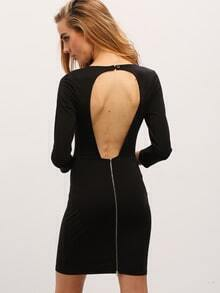 Black Cut Out Back Sheath Dress