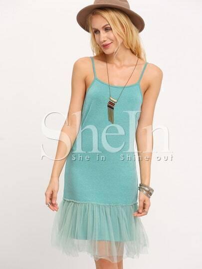 Green Spaghetti Strap Organza Hem Dress
