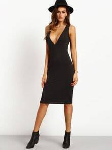 Black Deep V Neck Sleeveless Sheath Dress
