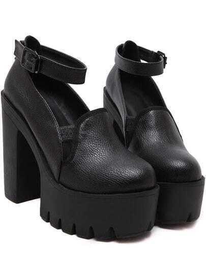 Black Ankle Strap High Block Heel Pumps