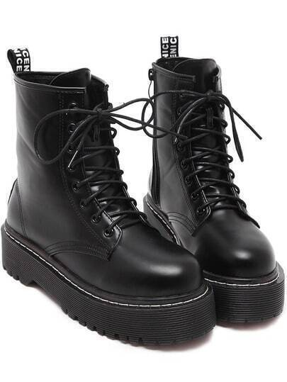 Black Round Toe Thick-soled Lace Up Short Boots