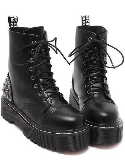 Black Rivet Thick-soled Lace Up Short Boots