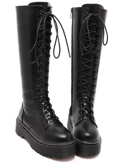 Black Side Zipper Thick-soled Lace Up Knee Boots