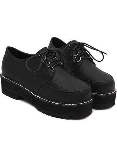 Black Round Toe Thick-soled Lace Up Shoes