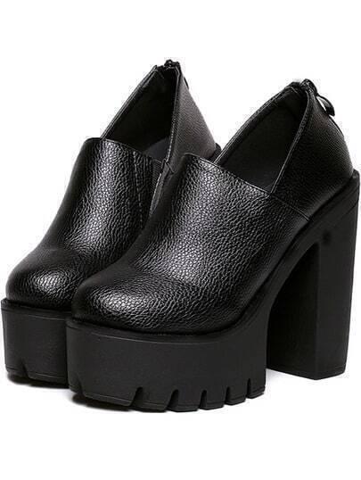 Black Round Toe Thick-soled High Block Heel Pumps
