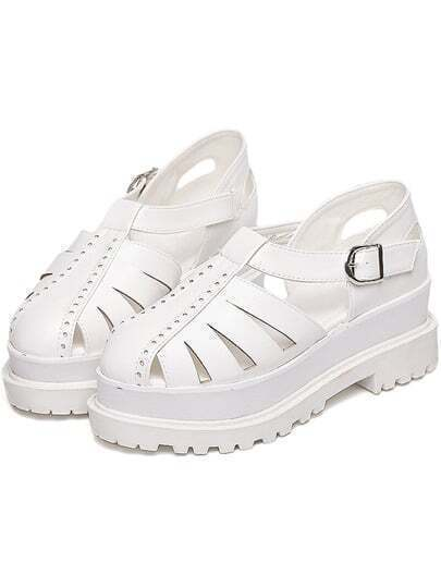 White Round Toe Flat Caged Shoes
