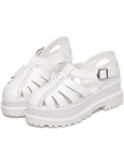 White Round Toe Flat Caged Shoes