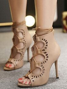 Apricot Peep-toe High Stiletto Heel Lace Up Sandals