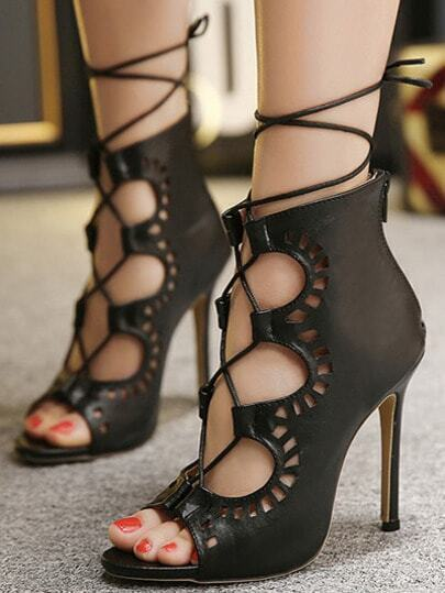 Black Peep Toe High Stiletto Heel Lace Up Sandals
