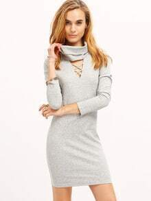 Grey Cowl Neck Hollow Out Bodycon Dress