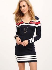 Navy Color Block Scoop Neck Dress
