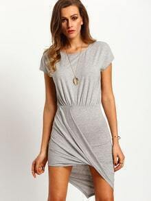 Grey Draped Side Asymmetric Dress