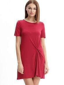 Burgundy Knotted Shift Dress