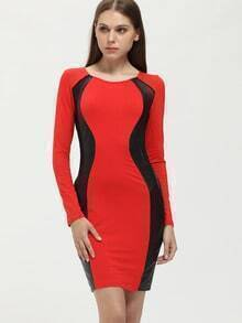 Red Color Block Mesh Sheath Dress