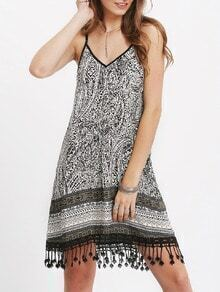 Black Spaghetti Strap Tribal Print Fringe Hem Dress