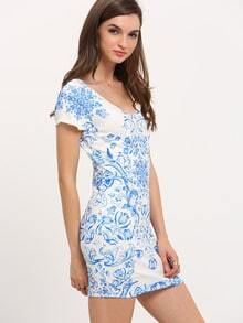 Blue Tribal Print Bodycon Dress